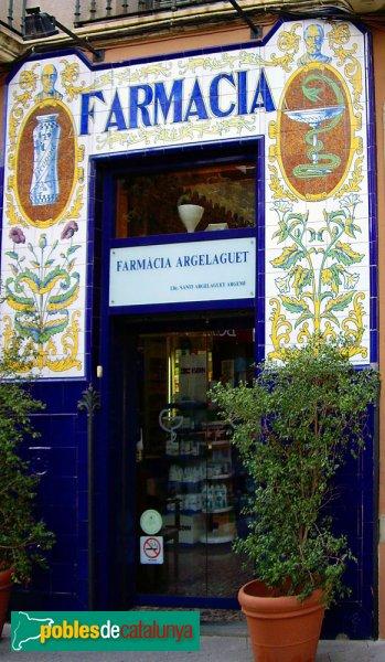 Farmàcia Argelaguet, façana de rajoles
