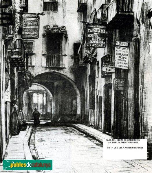 Barcelona - Casa del Gremi de Calderers des del carrer Filateres