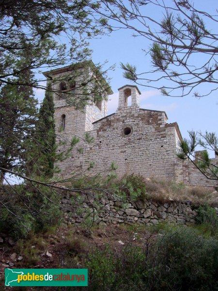El Puig de la Creu, vista del torreó i el campanar de l'Ermita