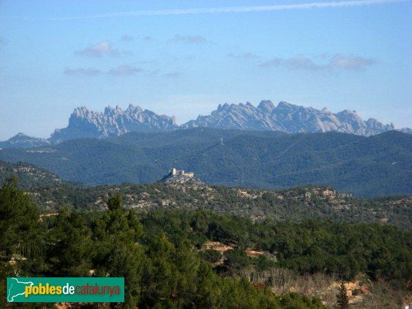 La Pobla de Claramunt - Castell i Montserrat al fons