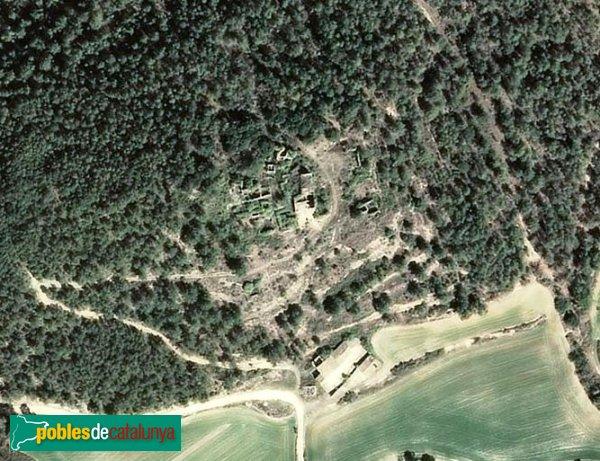Argençola - Sant Pere de la Goda, vista aèria de les restes del nucli