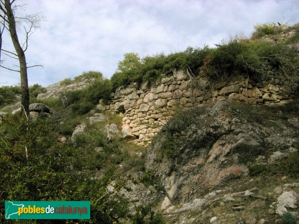 Pontils - Castell de Pontils, muralla