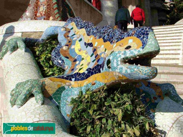 Barcelona - Parc Güell, drac de l'escalinata