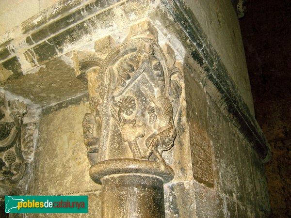 Sant Cugat del Vallès - Monestir, capitell del claustre, autorretrat d'Arnau Cadell