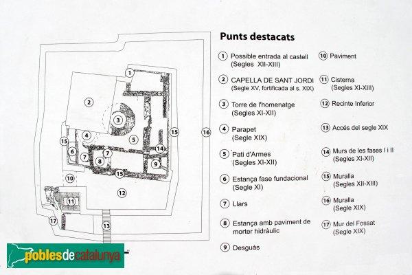 Maçanet de la Selva - Castell de Torcafelló, plànol