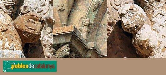 Lladó - Església de Santa Maria, portada: figures d'animals