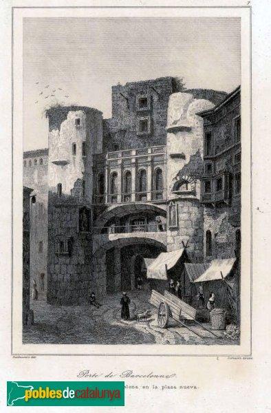 Barcelona - Plaça Nova 1820, gravat de Guillaumot de Lemaitre