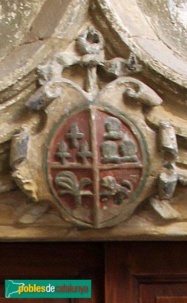 Subirats - Palau Gralla (Torre-ramona), escut a una porta