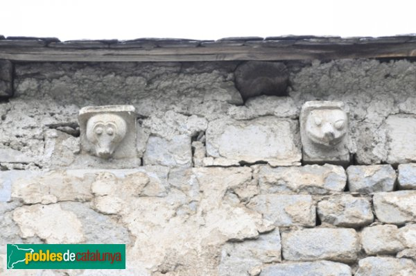 Església de Santa Eulàlia a Unha - Mènsules decorades amb cares d'animals