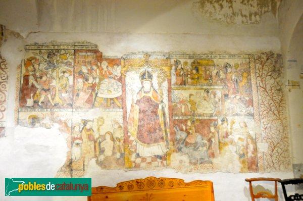 Església de Santa Eulàlia a Unha - Pintura gòtica mural  del XV o XVI que representen la vida de Sant Germà d'Auxerre