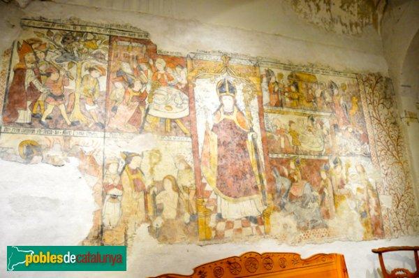 Església de Santa Eulàlia a Unha - Pintura mural del XVI que representen la vida d'un Sant