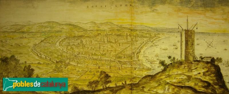Barcelona - Torre de Montjuïc, Anthonis van den Wijngaerde 1563 (Austrian National Library -Viena-)