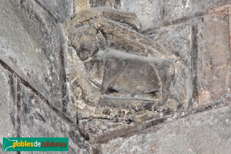 Sanaüja - Santa Maria de la Plaça, detall escultòric