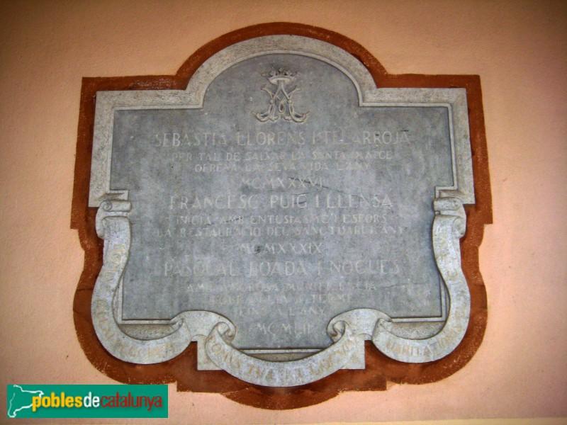 Blanes - Santuari del Vilar, làpida que conmemora el salvament de la imatge per en Salvador Llorens