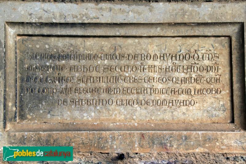 Santa Cristina d'Aro - Sant Martí de Romanyà, làpida del segle XIV